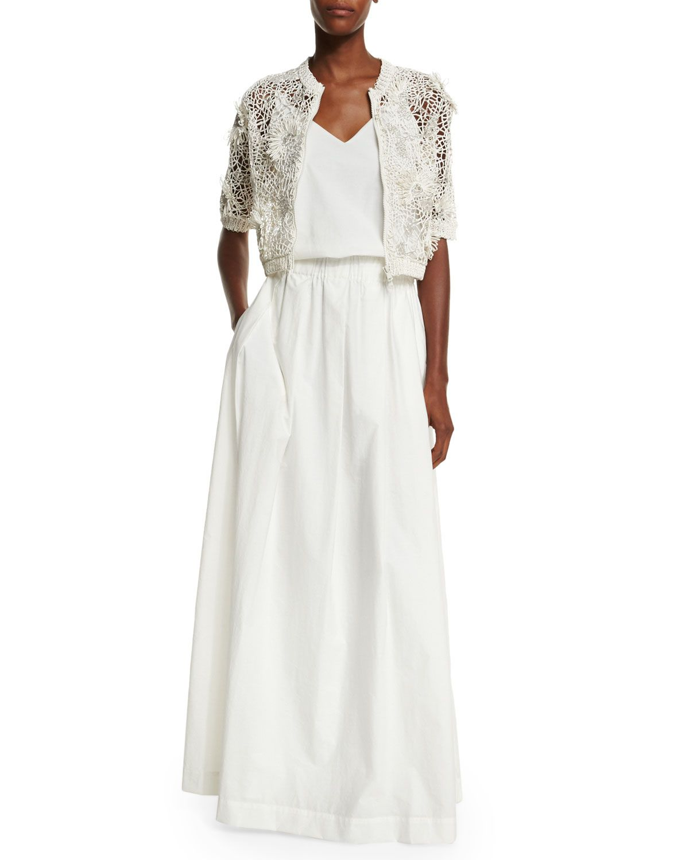 Brunello Cucinelli Half-Sleeve Monili-Embroidered Cardigan & V-Neck Monili-Strap Long Dress