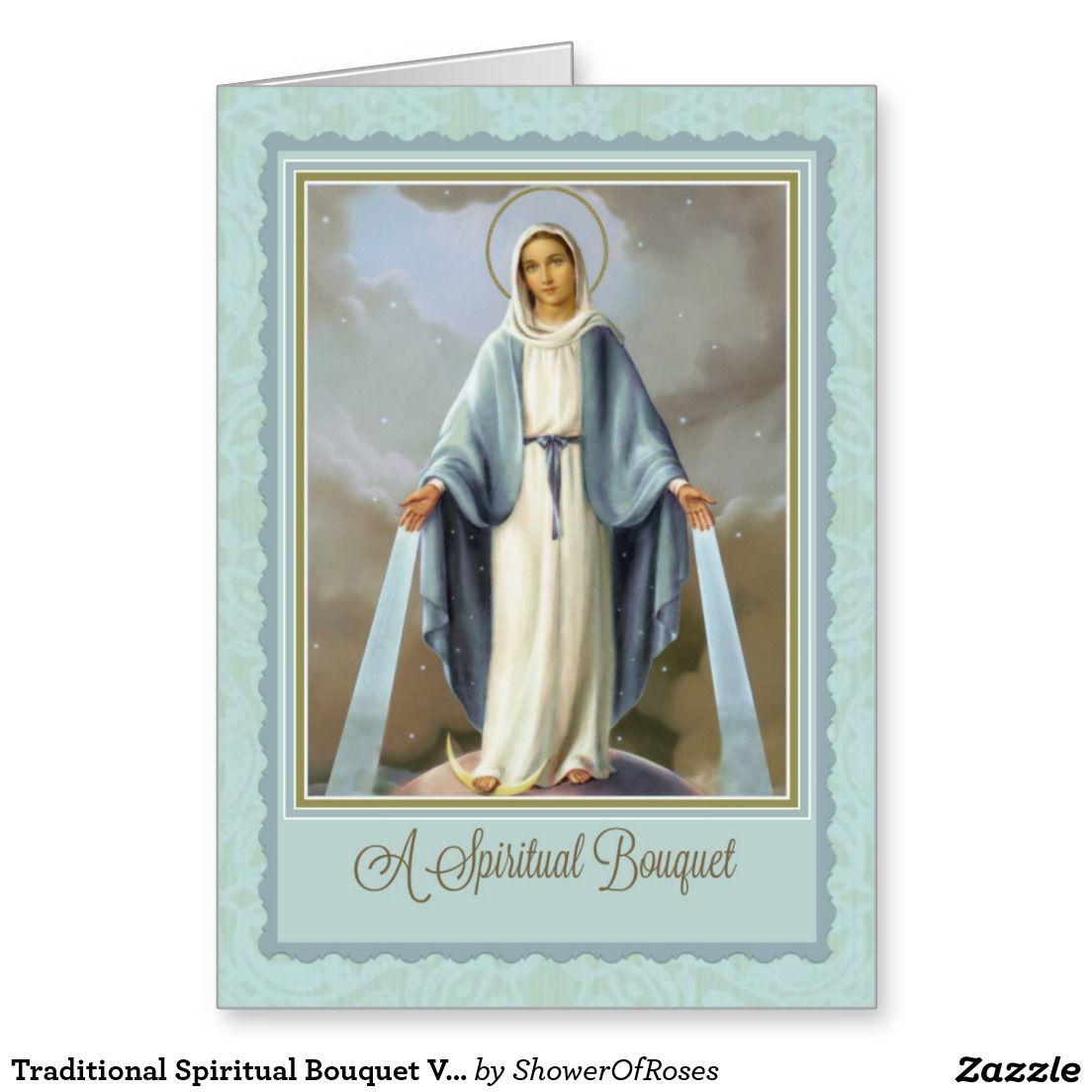 Traditional Spiritual Bouquet Virgin Mary Card Virgin Mary
