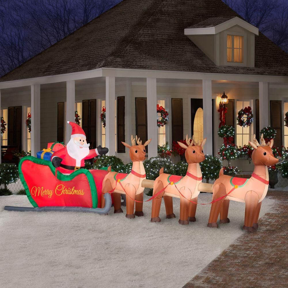 Celebrate The Holiday Season With This Inflatable Santa And His Reind Christmas Inflatables Outdoor Christmas Yard Decorations Inflatable Christmas Decorations