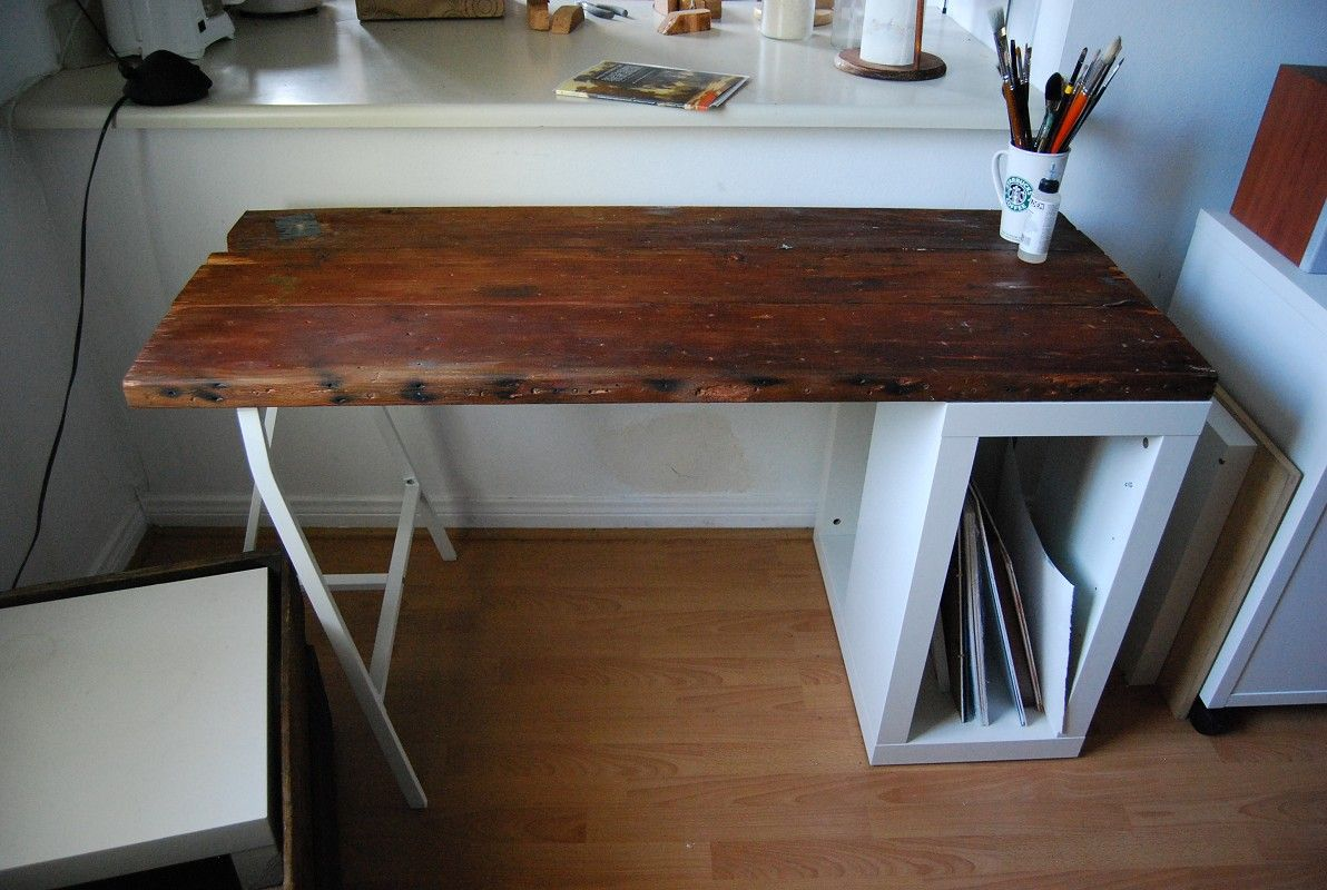 Reclaimed wood desk / table made from a vintage door and pallets. $499.00,  via Etsy. | Office | Pinterest | Vintage doors, Pallets and Desks