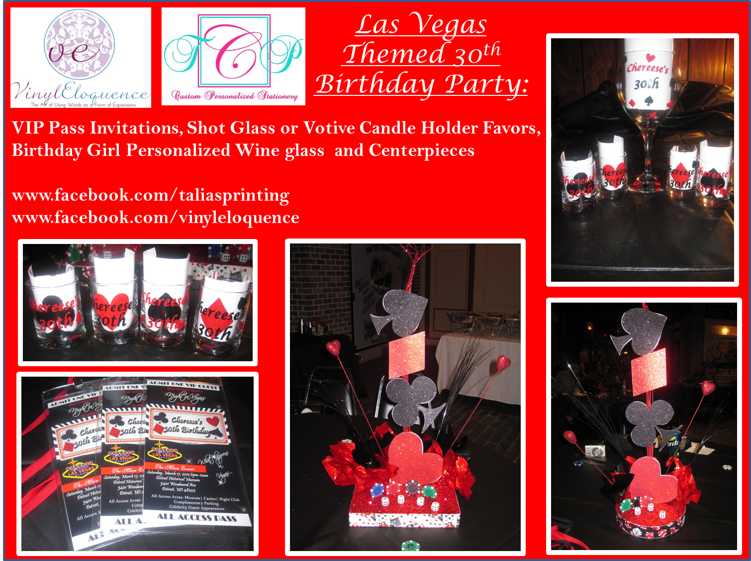 Las Vegas themed party package. VIP Pass Invitations