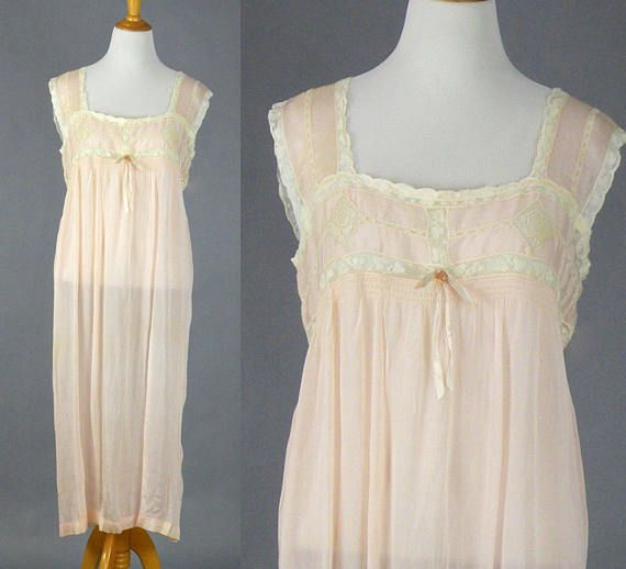 a1b4a6010f172 1920's Silk Lace Nightgown, Vintage 20s Lingerie, Pale Pink Silk Nightgown  with Filet Lace, Plus Siz