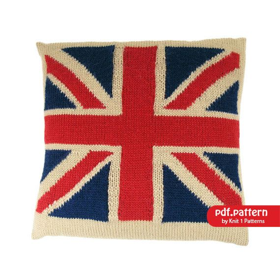 Intarsia Knit Union Jack Cushion Cover Downloadable Knitting Pattern