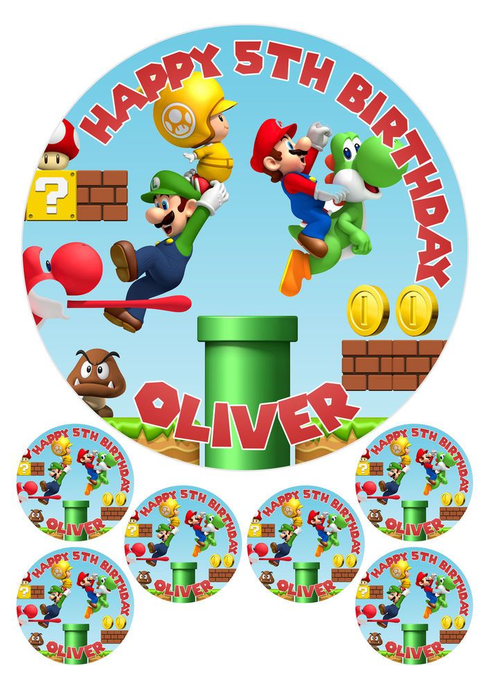 "Super MarioMario Kart  Personalised  Edible Birthday Cake Topper 7.5/"" Round"