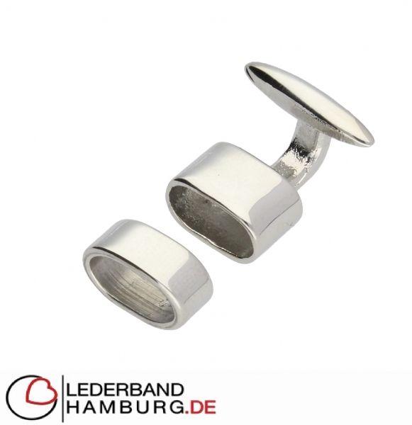 Armbandverschluss, innen 10x5mm, Edelstahl, silber von