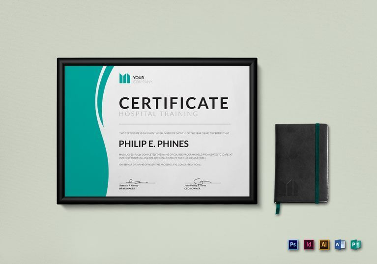 Hospital Training Certificate Template $15 Formats Included - ms word certificate template