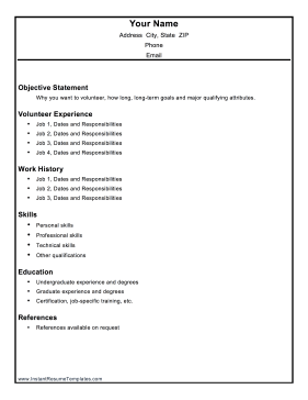 Volunteer Resume Template Resume Template Resume Templates