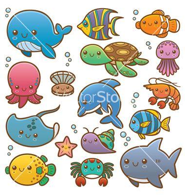 Sea Animals Vector Art Download Vectors 3311711 Cartoon Sea Animals Sea Creatures Drawing Sea Animals Drawings