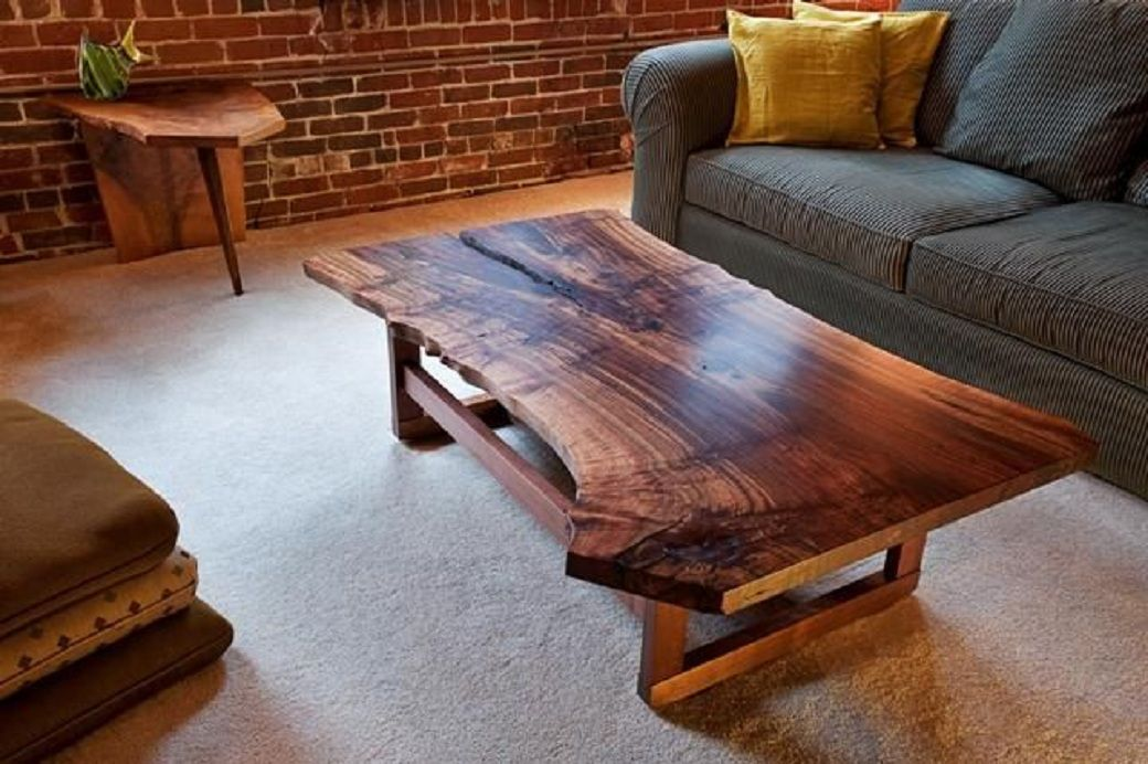 Claro Walnut Wood Slab Coffee Table Live Edges With Sleek Modern Wooden Base By Infusion Furniture Unique Ideas Of Tables For Living Room