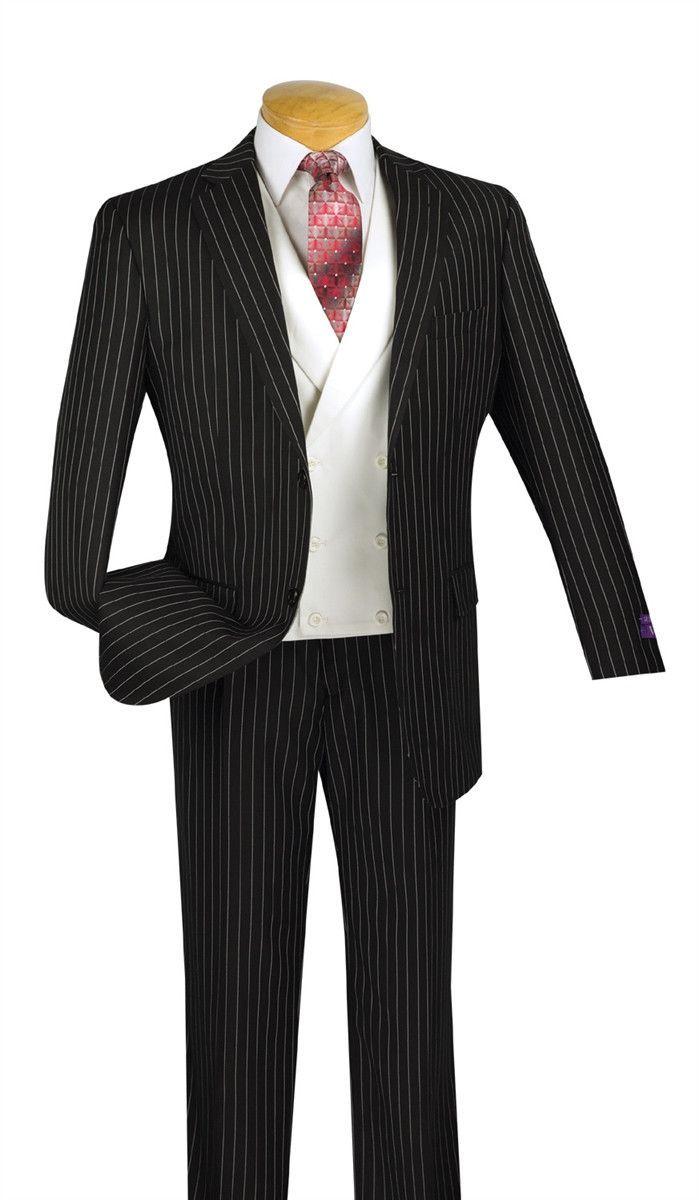 Vinci Men/'s Navy Blue Banker Stripe 3 Piece 3 Button Classic Fit Suit NEW