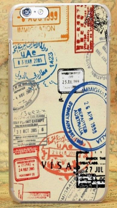 Retro Post Card Passport Stamps Style Hard Case Cover Coque For All Phone Models Iphone Wallpaper Travel Passport Stamps Travel Wallpaper