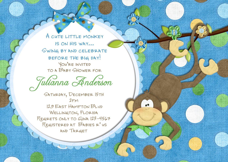 Monkey Baby Shower Invitation - Baby Boy Shower Invite You Print ...