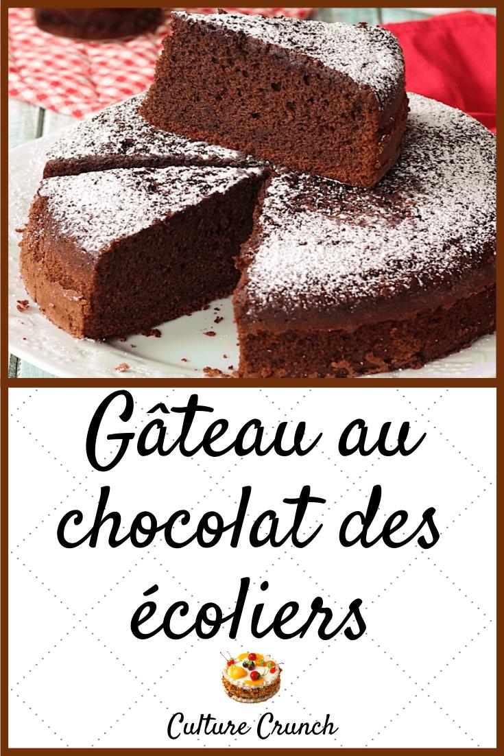 Gateau Au Chocolat Des Ecoliers La Recette Facile Gateau Chocolat Chocolat Recette Cookies Moelleux