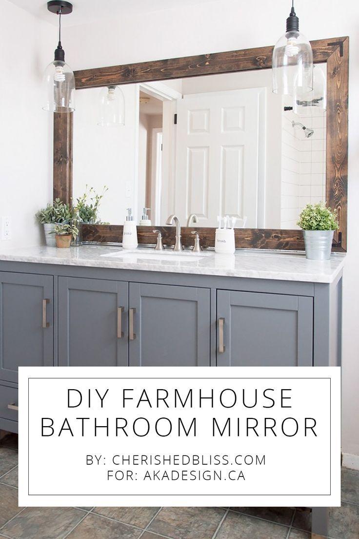 DIY Farmhouse Bathroom Mirror Tutorial | Bathroom mirrors, Tutorials ...