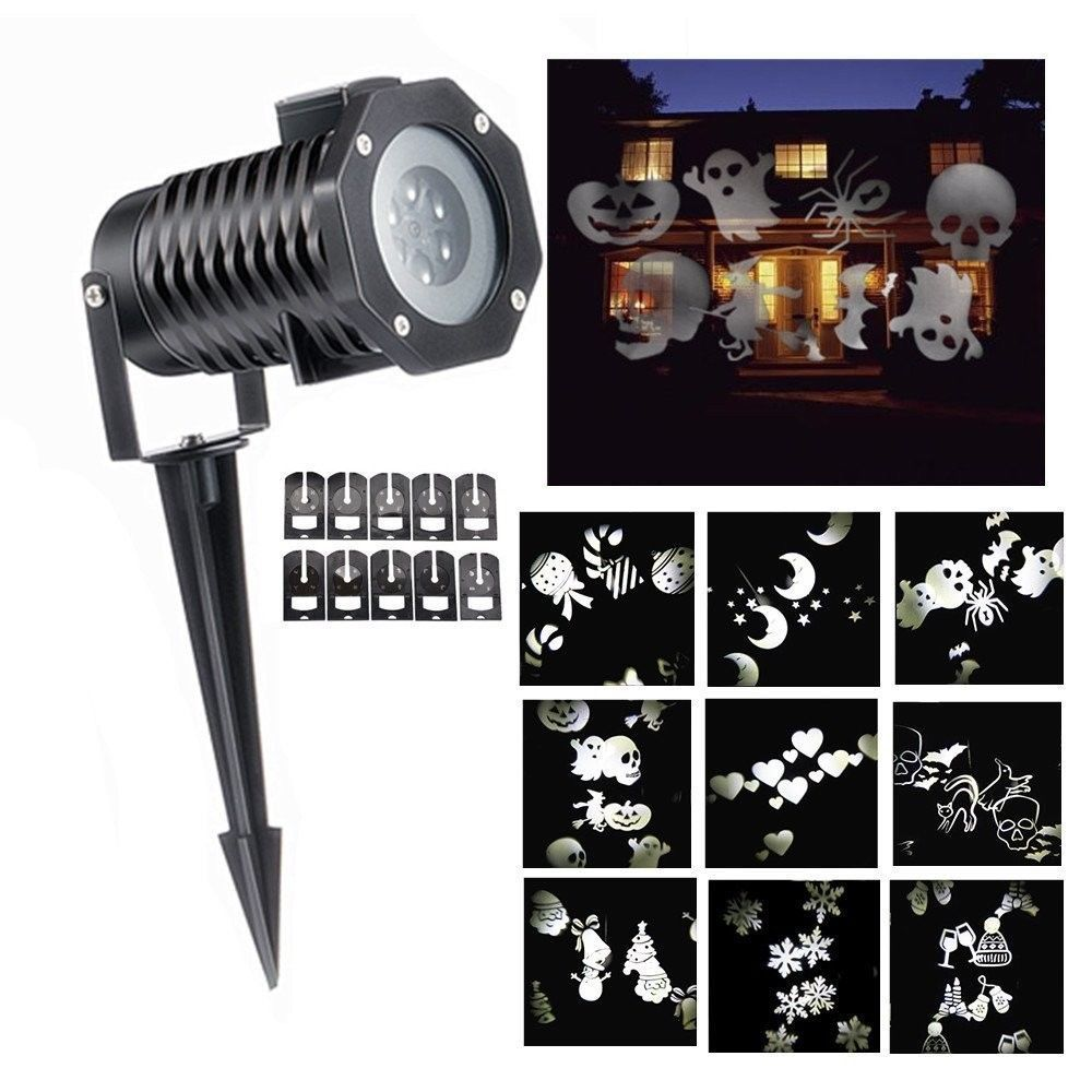 Outdoor Moving 10 Projector Laser LED Halloween Christmas