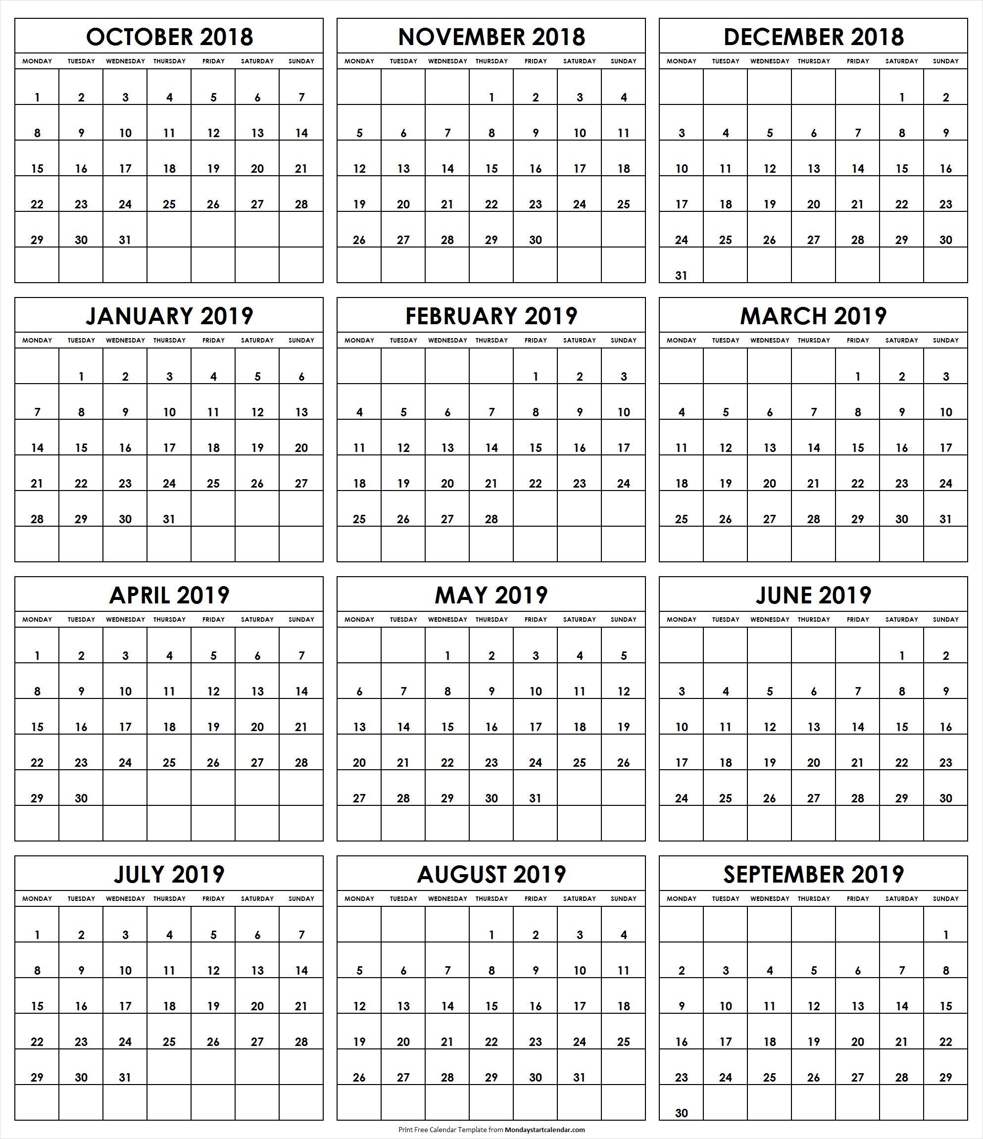 October 2018 To September 2019 Calendar Monday Start 2019