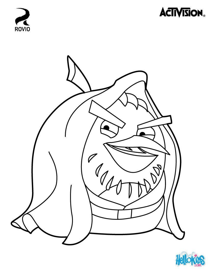 Black Bird Obi-Wan Kenobi. Cute coloring sheet about Angry Birds and ...