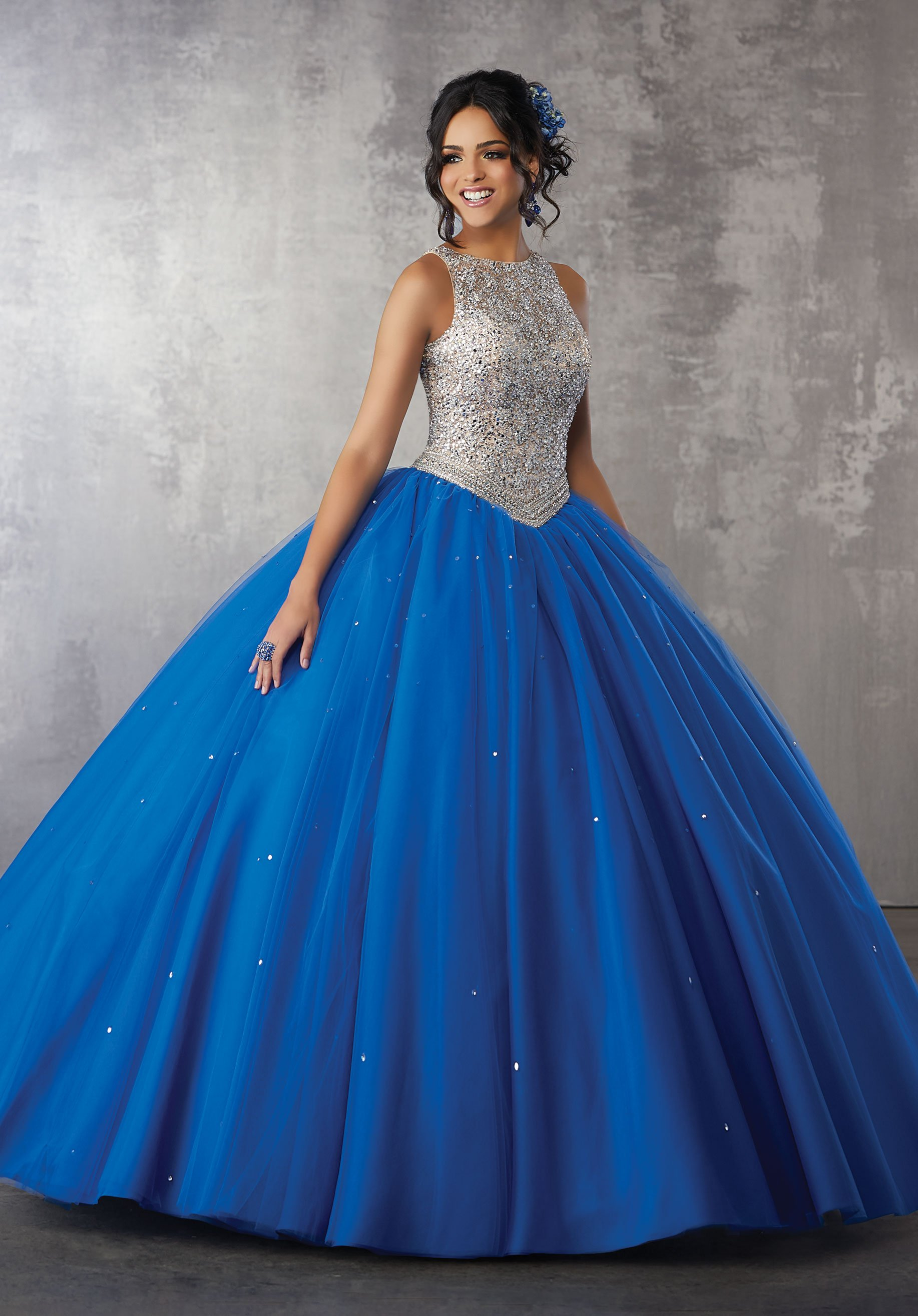 f9e5adfa4d9 Beaded Tulle Quinceanera Dress by Mori Lee Valencia 60040. Beaded Tulle  Quinceanera Dress by Mori Lee Valencia 60040 Vestido Azul Cielo