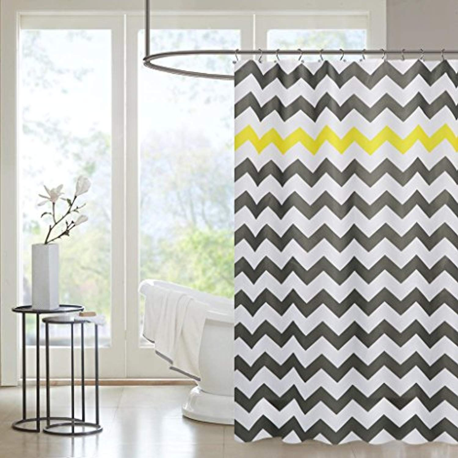 PICURA Fabric Shower Curtain Liner Cloth Mildew Resistant Washable Polyster Waterproof With 12 Hooks Eco Friendly Bath