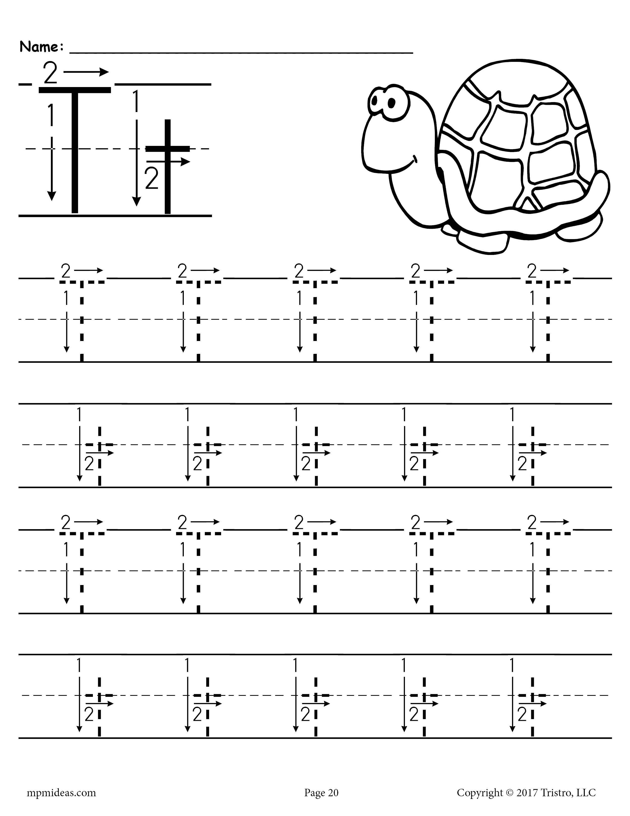 Printable Letter T Tracing Worksheet With Number And Arrow Guides Letter T Worksheets Free Handwriting Worksheets Handwriting Worksheets For Kindergarten [ 3300 x 2550 Pixel ]