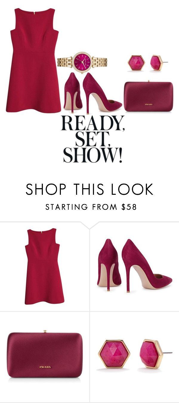 """Red"" by lisa-boobear ❤ liked on Polyvore featuring мода, Kate Spade, Gianvito Rossi, Prada, Trina Turk и MICHAEL Michael Kors"