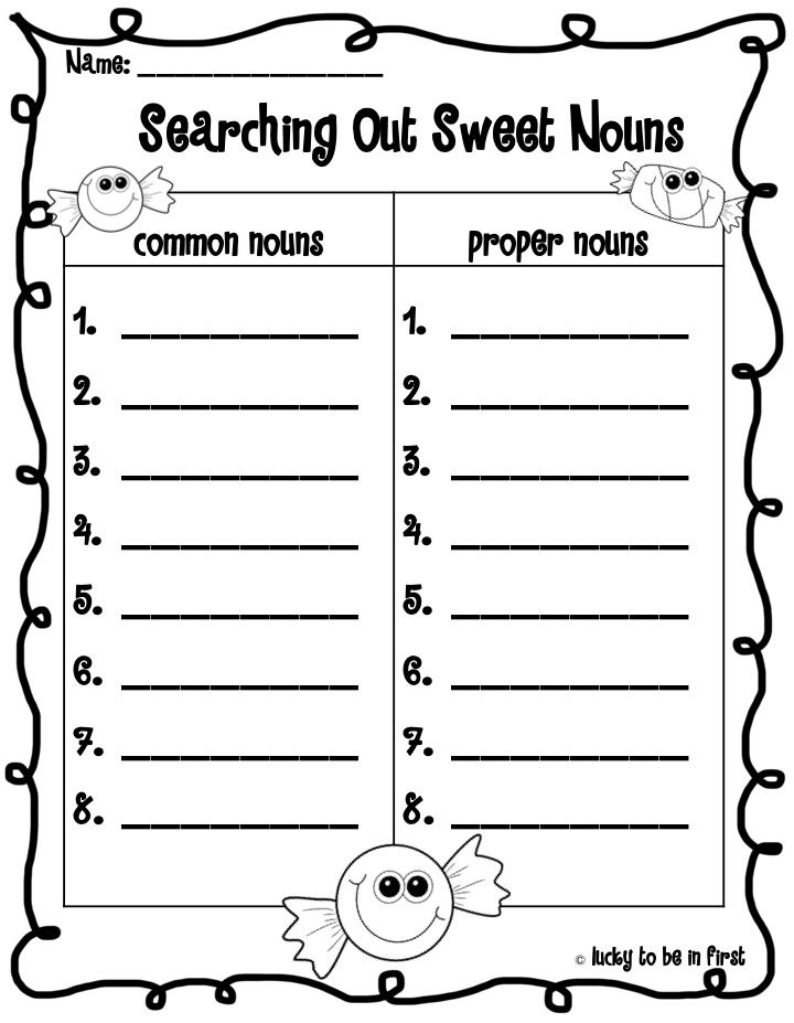Common And Proper Nouns Worksheets For Kindergarten