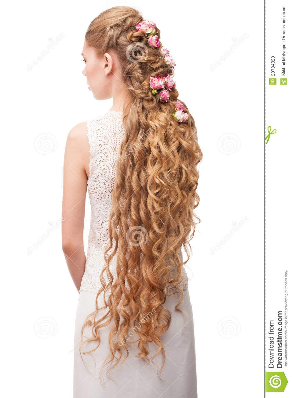 Just lovely long long beautiful hair pinterest bridal photo about blond hair beautiful caucasian woman with curly long hair bridal hairstyle decorated by flowers 29794320 izmirmasajfo Gallery