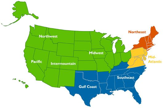 Image of United States map outlining various regions ...
