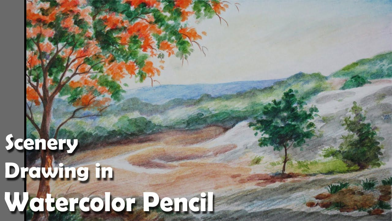 How To Draw A Scenery In Watercolor Pencil Watercolor Pencils