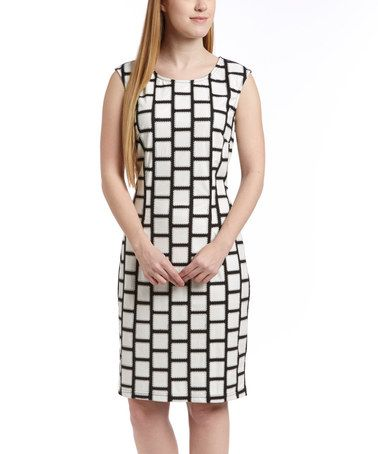 Love this Black & White Square Sleeveless Dress by Samuel Dong on #zulily! #zulilyfinds