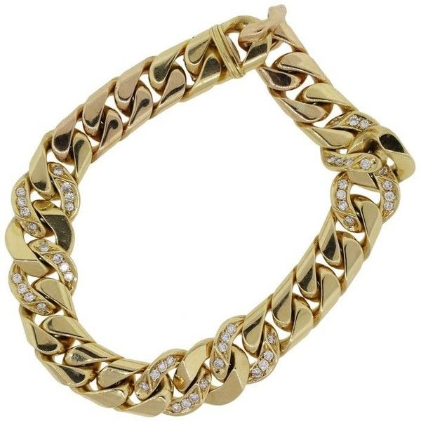 Pre-owned Bulgari 18k Yellow Gold 2ctw Diamond Link Gents Bracelet ($8,995) ❤ liked on Polyvore featuring jewelry, bracelets, gold bracelet, 18k yellow gold bracelet, 18 karat gold bracelet, diamond bracelet and 18k gold jewelry