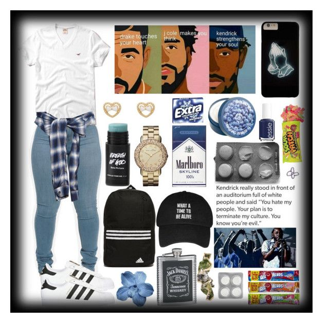"""""""What a time to be alive. """" by the-after-party ❤ liked on Polyvore featuring adidas Originals, Hollister Co., Forever 21, Marc by Marc Jacobs, The Body Shop, adidas, Essie, Miharayasuhiro and ...Lost"""
