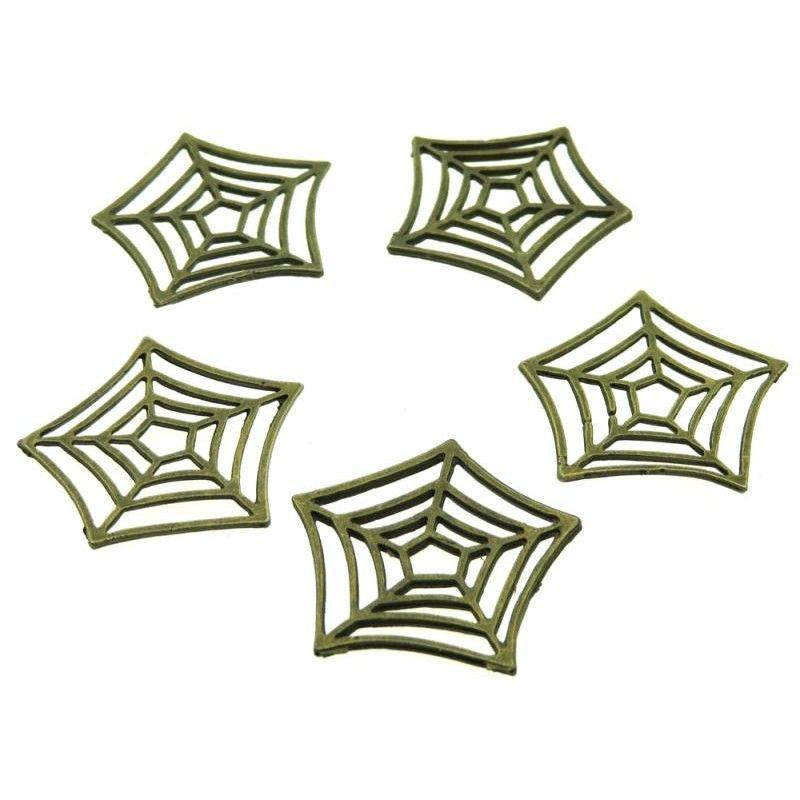 5x Bronze Coloured Metal Cobweb Charms Jewelry making