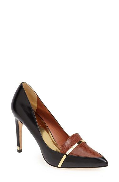 5941bb65da7 Free shipping and returns on Ted Baker London  Pageta  Pump (Women) at  Nordstrom.com. A gleaming logo band wraps the textured contrast vamp of a  sleek ...