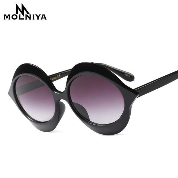 d476a30e1e06  FASHION  NEW MOLNIYA Fashion Round Cat Eye Sunglasses Women Retro Brand  Designer Sun Glasses
