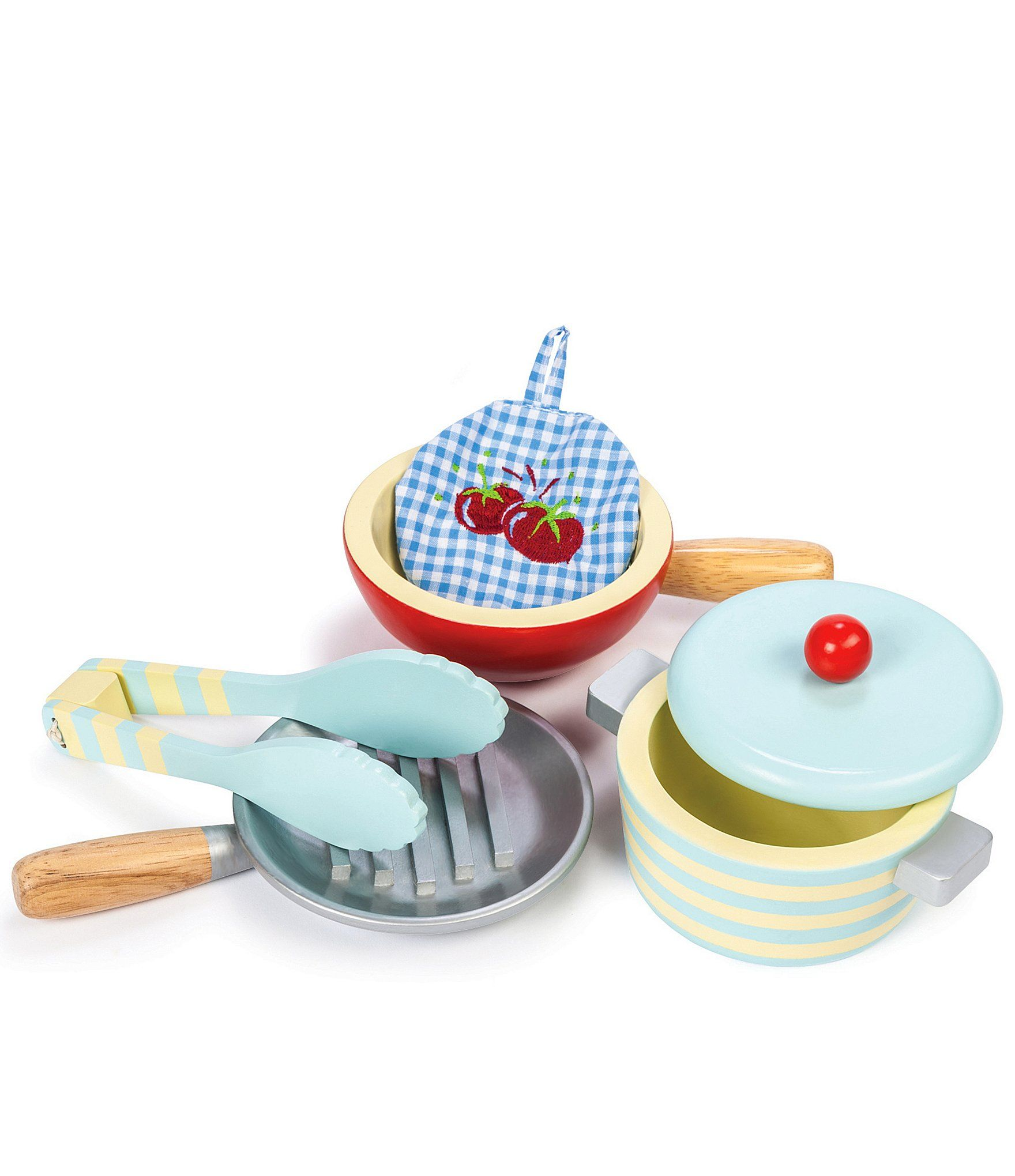 Le Toy Van Honeybake Pots And Pans Dillard S In 2020 Toy Kitchen Accessories Pots And Pans Sets Kids Wooden Kitchen