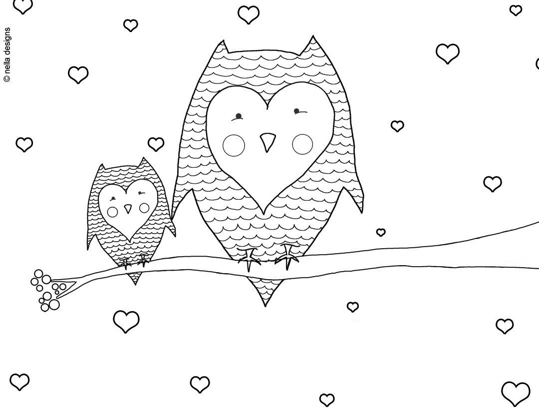 Valentine S Day Owls Coloring Page Valentines Day Coloring Page