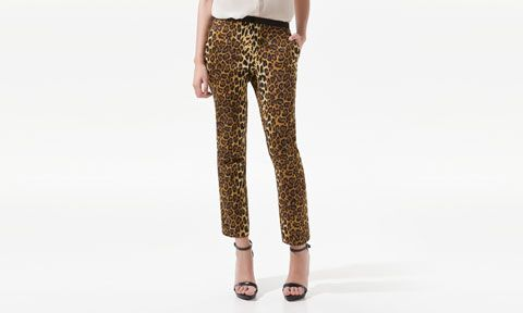 CROPPED LEOPARD PRINT TROUSERS