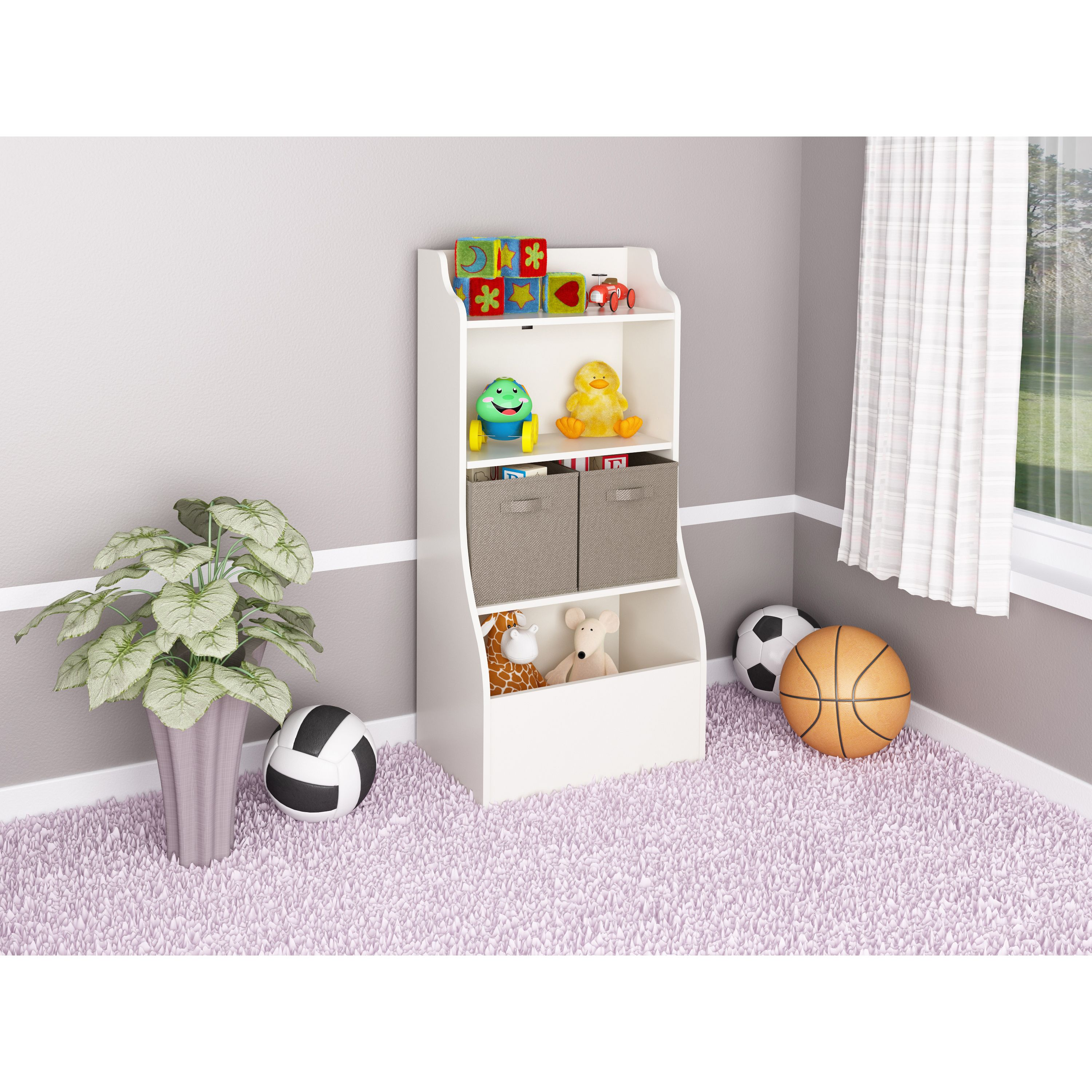 Superior The Ameriwood Bookcase With Toy Chest Includes Two Fabric Bins To Hide Away  All Your Childrenu0027s