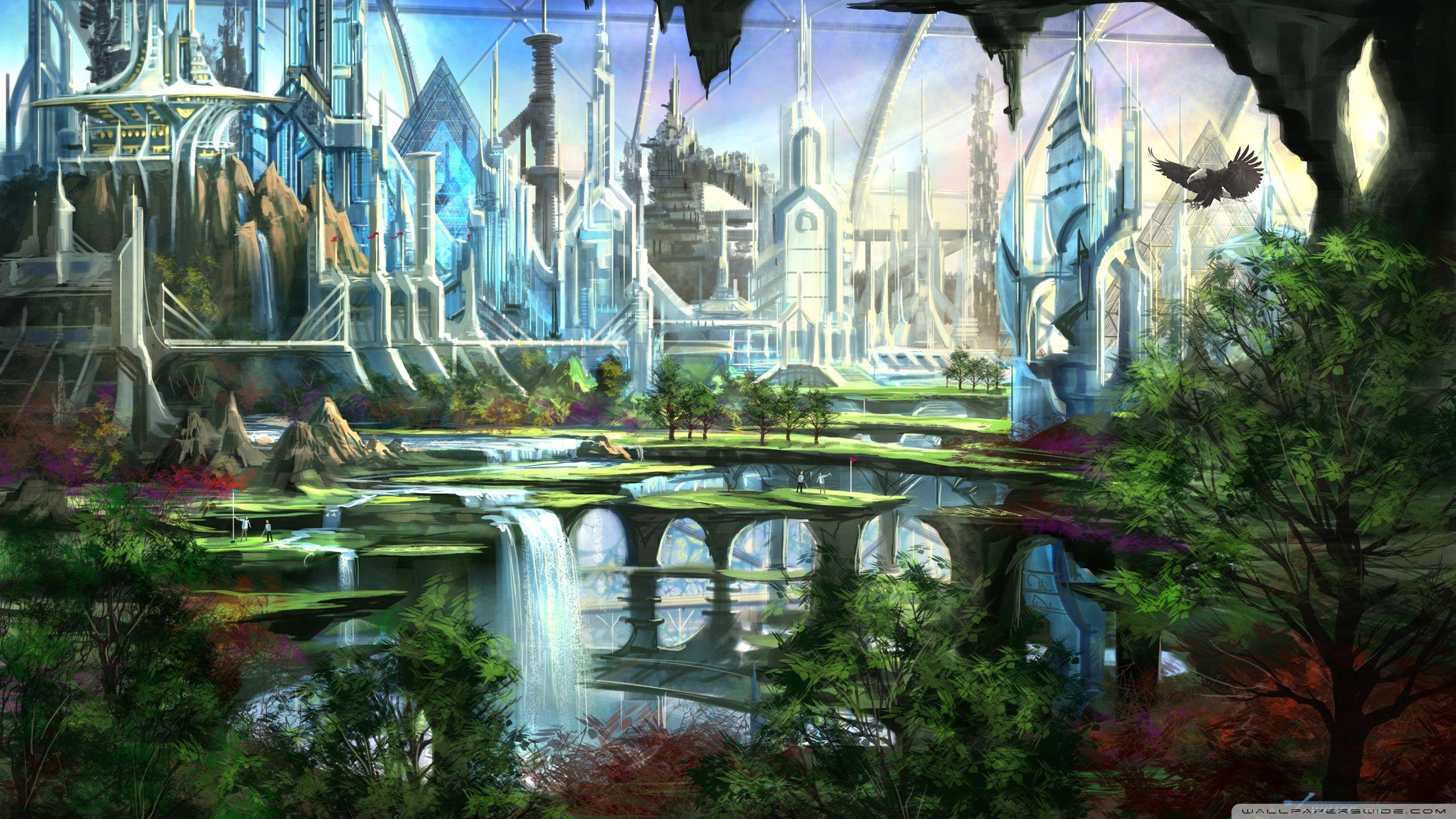 Fantasy Wallpaper 2560x1440 37925 Futuristic City Fantasy City Fantasy Landscape