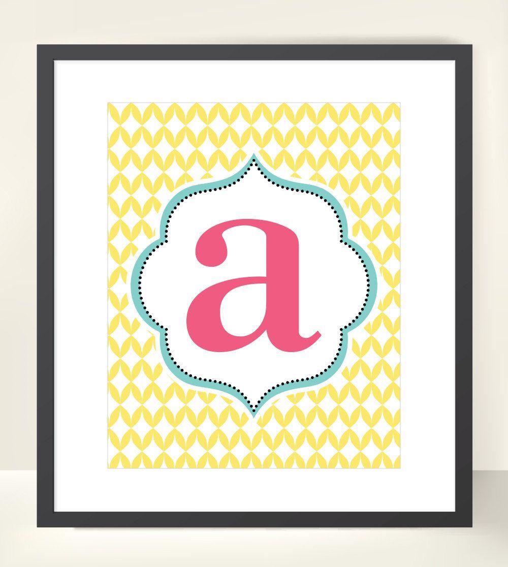 Girl Graphic Pattern Lowercare or Uppercase Letter Name Custom ...