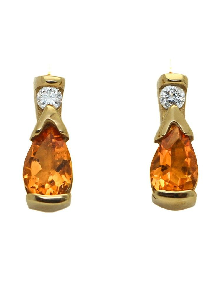 14k Yellow Gold Citrine and Diamond Stud Earrings Pinterest