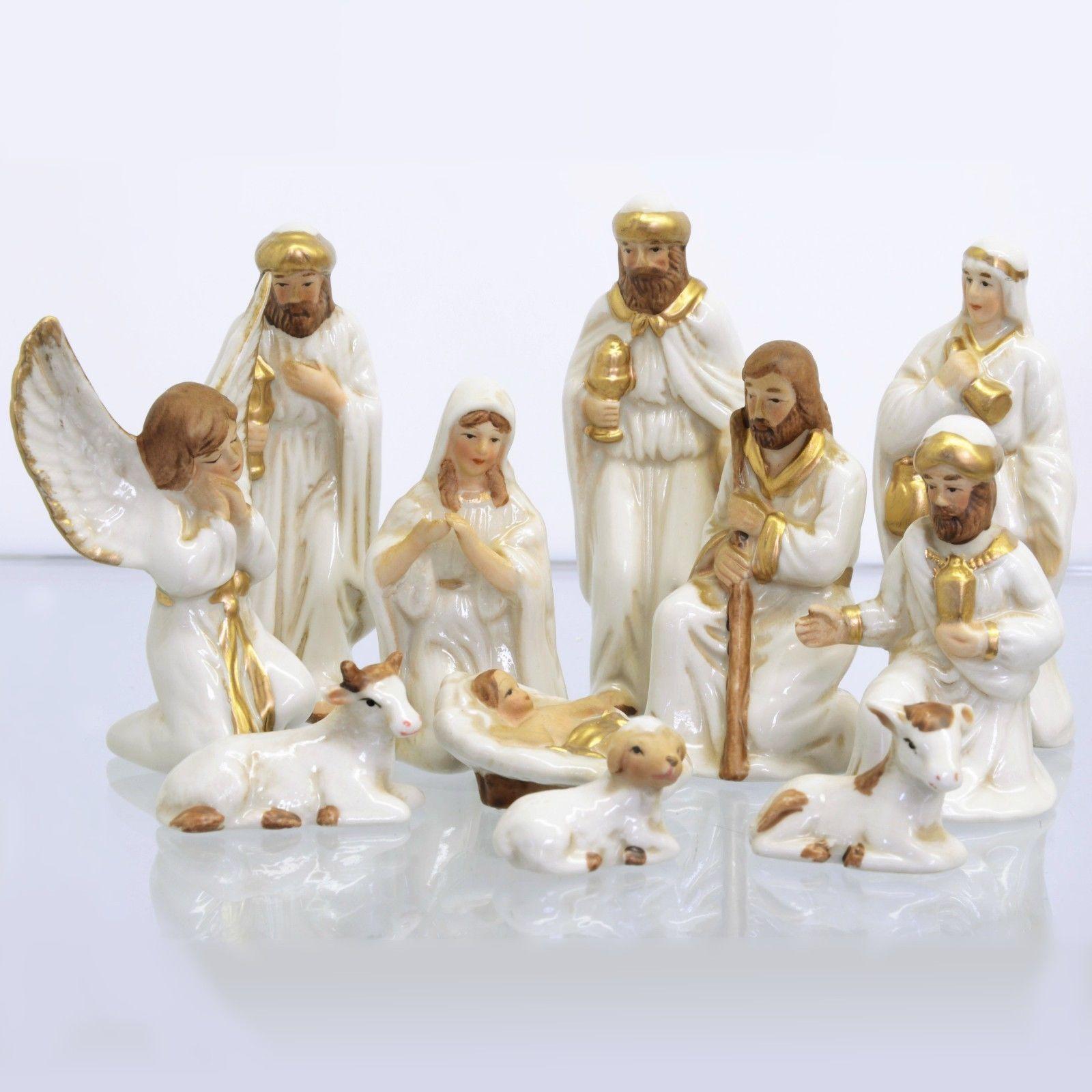 dcd69c9e6f4 Set 11 figuras decorativas cerámica Navidad nacimiento Belén blanco-dorado