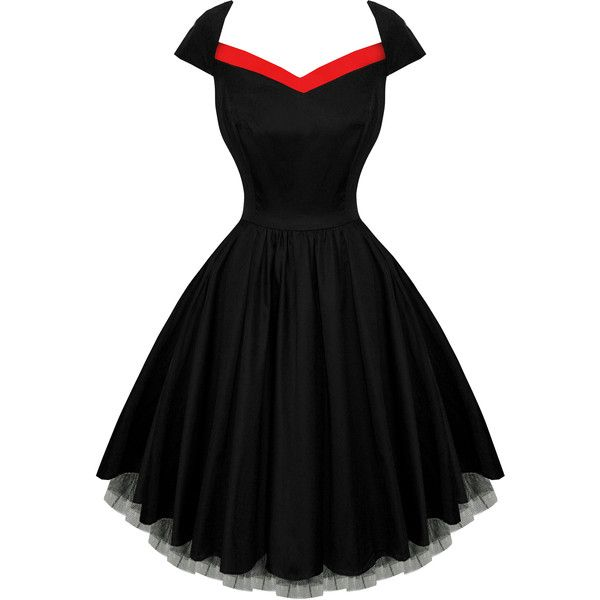 Hearts And Roses London Black Flared 50s Style Vintage Party Prom 49 Liked On Polyvore Vintage Skater Dress Vintage Party Dresses Prom Dresses Vintage