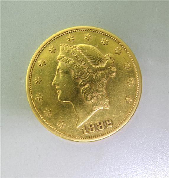 1882-S Double Eagle Twenty 20 Dollar Liberty US Gold Coin. Available @ hamptonauction.com for the February 9, 2014 auction!
