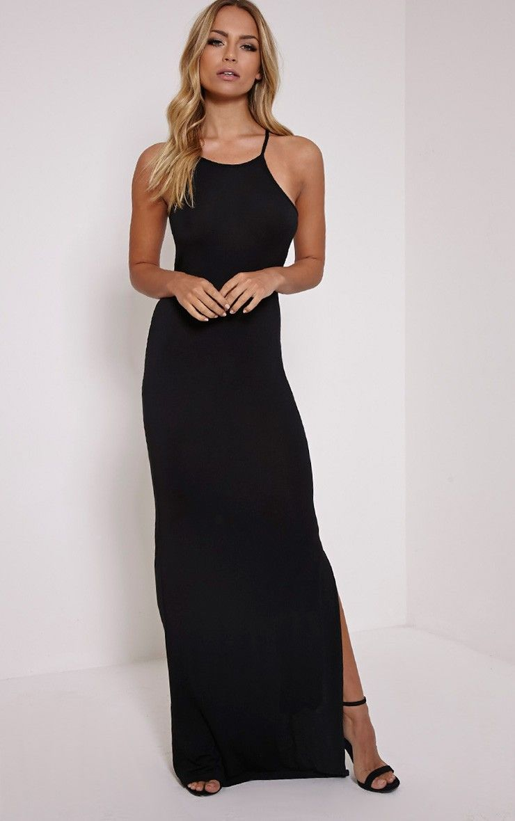 PrettyLittleThing #Dress Basic Black Square Neck Maxi Dress-8 at ...