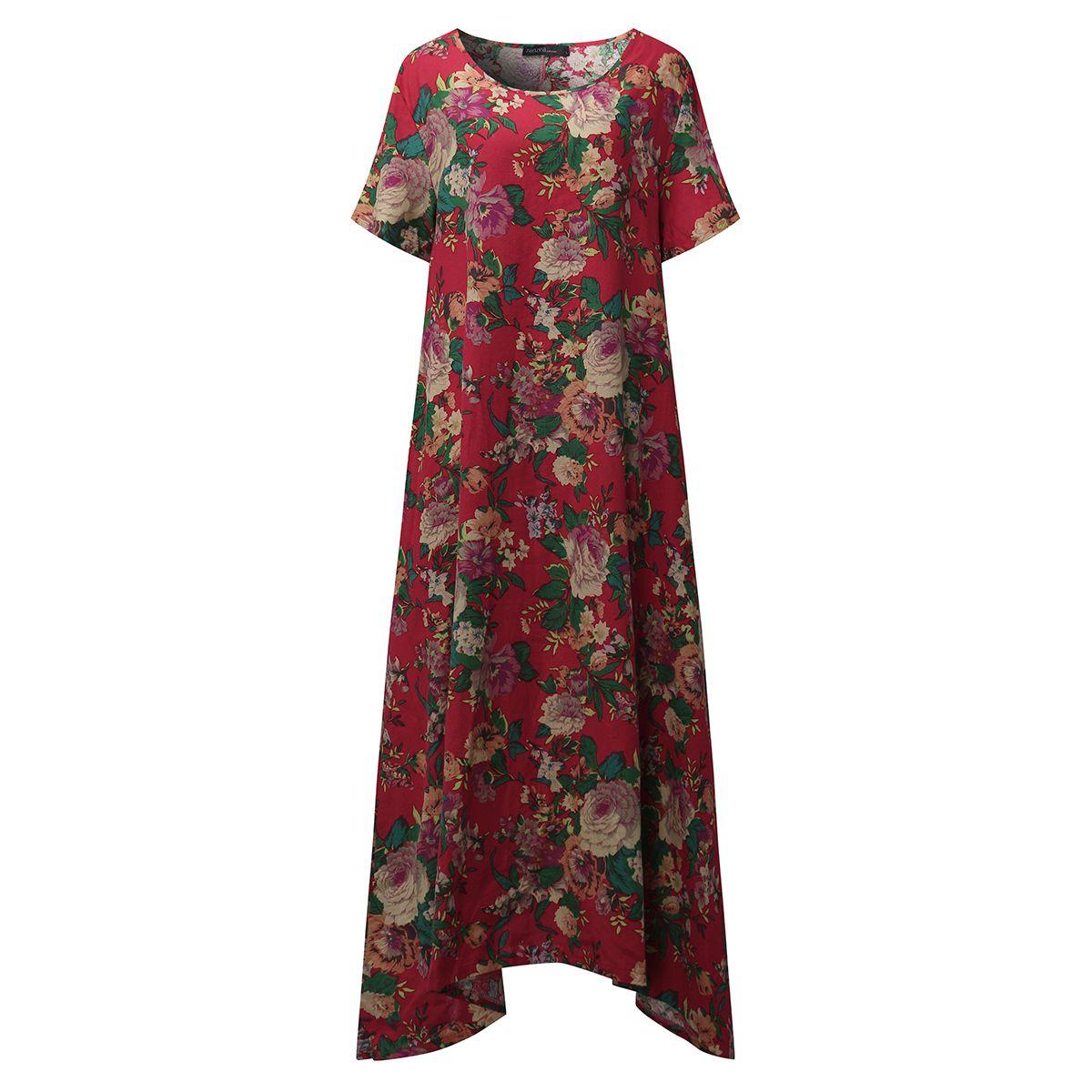 Zanzea women round neck loose short sleeve batwing floral print
