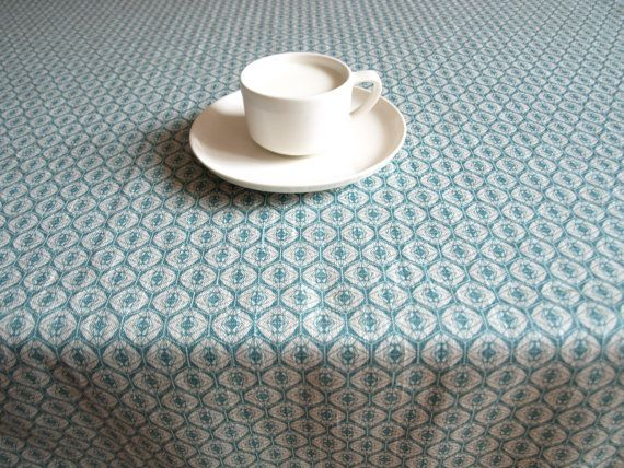 """Linen tablecloth natural grey linen teal blue Eco Friendly 37""""x37"""" or made to order your size,. $25.00, via Etsy."""