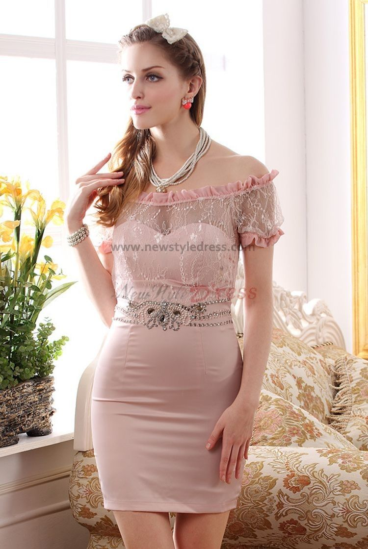 Pinkivory off the shoulder above knee sheath sexy prom dresses nm