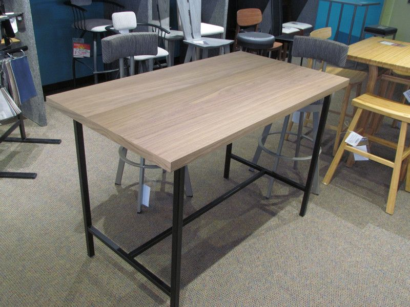 Kendall Counter Height Table In Walnut Finish Top And Black Metal Unique Kendall Dining Room Decorating Design